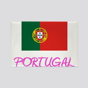 Portugal Flag Artistic Pink Design Magnets